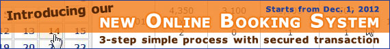 Online Booking System: 3-step simple process with secured transaction